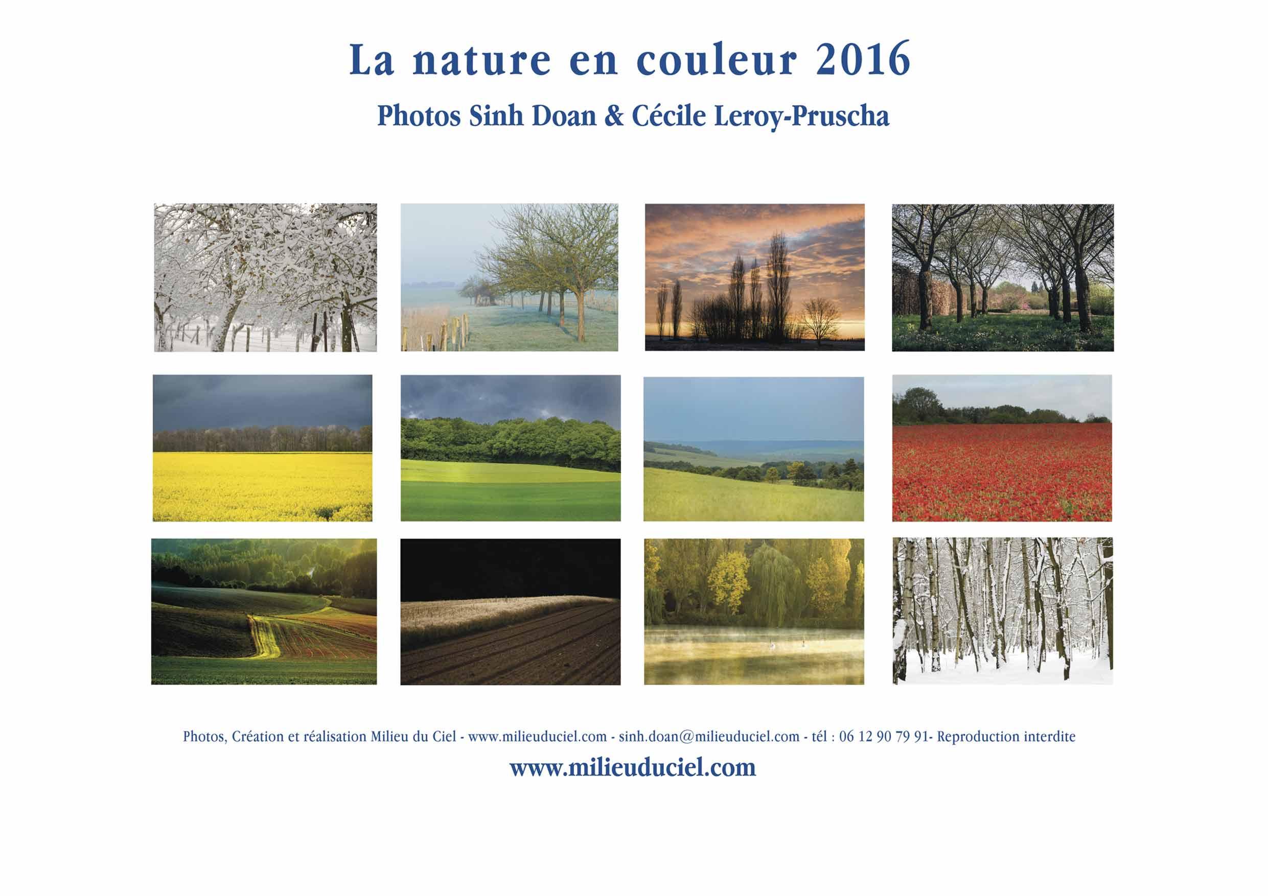 La nature en couleur - Calendrier Milieuduciel 2016