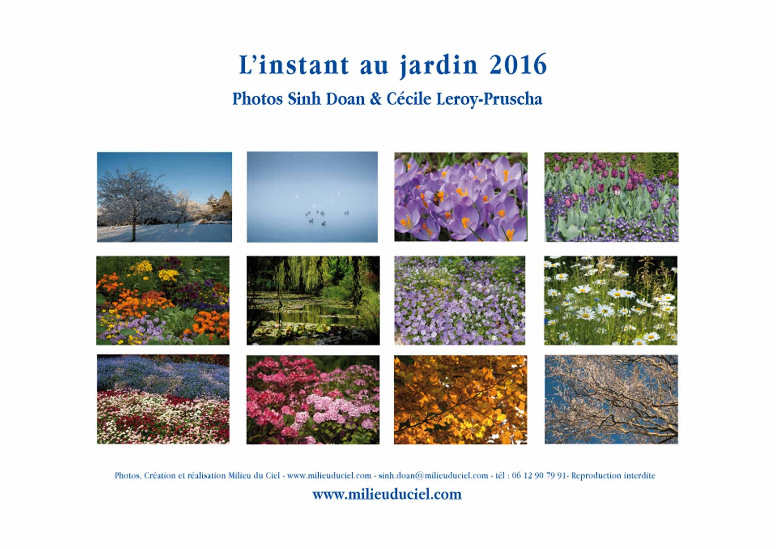 L'instant au jardin - Calendrier Milieuduciel 2016